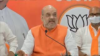 HM Shri Amit Shah addresses a press conference in Hyderabad, Telangana.