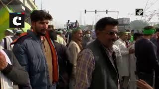 Protesting Farmers Remove Barricades Through Tractor At Delhi-UP Border