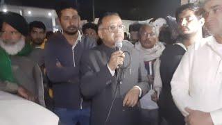 टिकरी बॉर्डर पर किसानों के समर्थन में आये इनेलो के जिलाध्यक्ष नफे सिंह राठी। किसानों के लिए बड़ा एलान