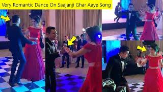 Aditya Narayan Very Romantic Dance With Wife Shweta Agarwal On Saajanji Ghar Aaye Song in Reception