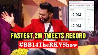 Bigg Boss 14: Rahul Vaidya Fans Ka NEW RECORD Set, Fastest 2M Tweets   #BB14TheRKVShow