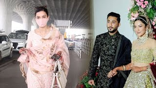 Newly Married Gauahar Khan Spotted At Mumbai Airport - Video