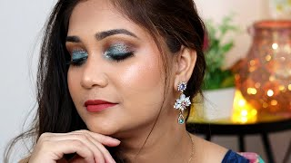 #Shorts Easy Blue Glitter Eyeshadow  Wedding Guest Makeup / Nidhi Katiyar