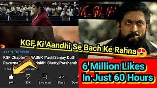 KGF Chapter 2 Teaser Becomes World's First Film Teaser To Cross 6 Million Likes In Less Than 60Hours