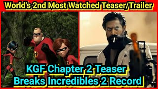 KGF Chapter 2 Teaser Beats The Incredibles 2 Trailer Record, Becomes 2nd Most Viewed Teaser In World