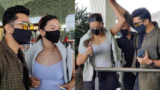 GAJA Couple Gauhar Khan And Zaid Darbar Very Lovely Moments Together At Airport