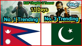 KGF Chapter 2 Teaser Is Still Trending No. 1 In Nepal, No. 3 In Pakistan After 11 Days