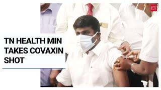 Tamil Nadu Health Minister Dr C Vijayabaskar takes covaxin shot