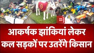 ट्रैक्टर रैली में प्रदर्शित करने के लिए सिंघु बॉर्डर पर कृषि उपकरणों के मॉडल लेकर पहुंचा किसान