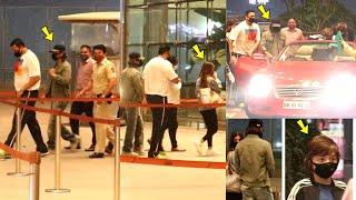 King Khan SRK & Abram Khan Arrives in a Convertible car to Drop Suhana Khan at the airport