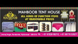MAHBOOB TENT HOUSE SWARAJ NAGAR BORABANDA 38 YEAR'S CELEBRATIONS  INAUGURATION BY HABEEBA FASSIUDDIN