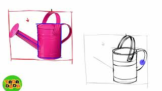 Learn Painting and Drawing WATERING CAN | STEP BY STEP |  Boom Boom Kids Education