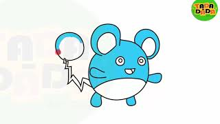 Draw  and Paint Marill pokemon  | STEP BY STEP | Boom Boom Kids