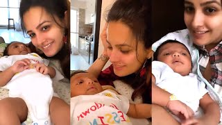 Anita Hassanandani singing Gayatri mantra For newborn son Aaravv Very Cutest Video