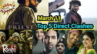Top 5 Films Direct Clash On March 11, 2021, Roberrt Vs Mosagallu Vs The Priest Vs Roohi Vs Sreekaram