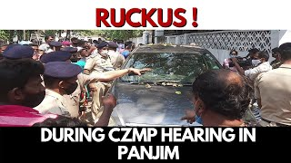 WATCH | Ruckus at Kala Academy Panaji during hearing on CZMP