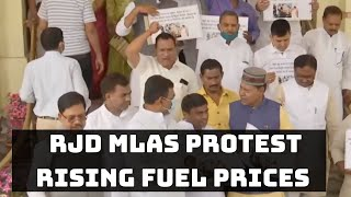 RJD MLAs Protest Rising fuel prices at Bihar Assembly   Catch News
