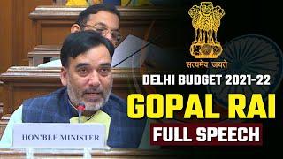 Delhi Environment Minister Gopal Rai Full Speech in Delhi Vidhansabha | Delhi Budget 2021-22
