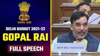 Environment Minister Gopal Rai Full Speech in Delhi Vidhansabha   Delhi Budget 2021-22