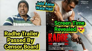 Big News: Radhe Trailer Passed By Censor Board Without Any Cuts, SalmanKhan Film Trailer Coming Soon