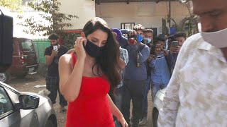 Red H0T Look Me Dikhi Nora Fatehi, Spotted At Mukesh Chabbra Office In Andheri