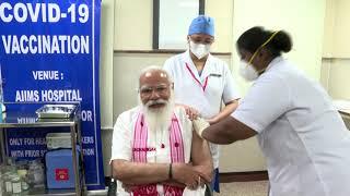 PM Modi get administered first dose of COVID-19 vaccine in AIIMS Delhi   PMO