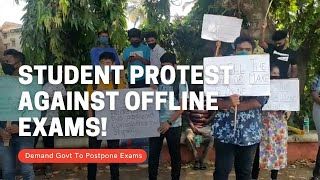 #Exams   Students protest at Mapusa against offiline exams, Demand govt to postpone exams!