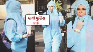 Bhaago Police Aaya ???? Rakhi Sawant PPE Kit Pehankar Mumbai Ke Sadkon Par Dikhi