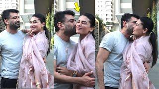 Pavitra Punia gets a kissie from BF Eijaz Khan Celebrates Birthday outside Their Apartment