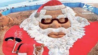 Sand artist Sudarsan Pattnaik creates world's biggest sand Santa face