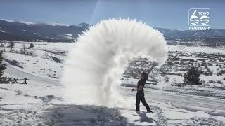 Boiling Water Freezes Within Seconds In Edmonton, Canada