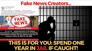 Fake News Creators, This is for you: One Year Jail If Caught!