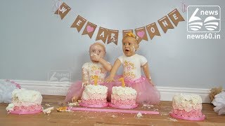 Baker created life-sized cakes of twin daughters for first birthday
