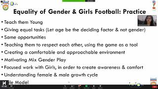 Equality of Gender, Girls' Football and Community Football for grassroots Ft Tanaz Mohammad