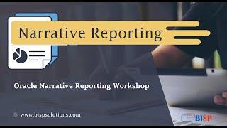 Oracle Narrative Reporting Workshop  Oracle Narrative Reporting Tutorial   Oracle Narrative Hands-On