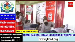 Red Cross Society organised blood donation camp at Red cross house exchange road Srinagar .