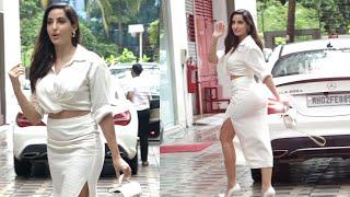 Baarish Me Aise H0T White Dress Me Dikhi Nora Fatehi, Spotted At T-Series Andheri