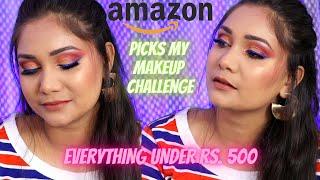 Amazon Picks My Makeup Challenge / Affordable Makeup Under Rs. 500 / Prime Day Sale / Nidhi Katiyar