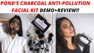 Pond's Charcoal Anti Pollution Facial Kit- Honest Review + Demo| How to get clear skin at home?