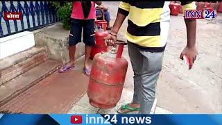 Korba : water in HP gas cylinder consumer complained, सिलेंडर में एलपीजी के जगह भरा जा रहा पानी