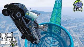 ???? مضحك القفز من منحدر الترا مع السيارات   GTA 5 Funny Jumping From Ultra Ramp w/ Cars.