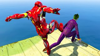 GTA V Water Ragdolls IRONMAN VS JOKER GTA 5 Superhero Battle, Funny Moments And Epic Ragdolls