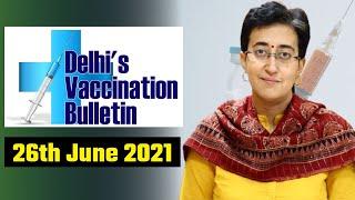 Delhi's Vaccination Bulletin 48 - 26th June 2021 - By AAP Leader Atishi #VaccinationInDelhi