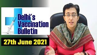 Delhi's Vaccination Bulletin 49 - 27th June 2021 - By AAP Leader Atishi #VaccinationInDelhi