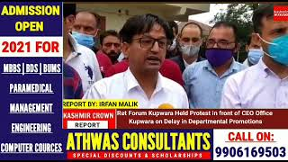 Ret Forum Kupwara Held Protest in front of CEO Office Kupwara on Delay in Departmental Promotions