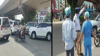 Minister Guzar Te Waqt Roki Gaye Traffic   Ambulance Ko Bhi Nahi Diya Gaya Raasta   Masab Tank  
