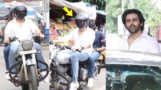Kartik Aaryan Enjoys bike ride in style on Mumbai streets | Kartik Aaryan Rides Royal Enfield Bike