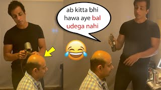 sonu sood very funny ????video with his worker   sonu sood doing hair cut ???? ????