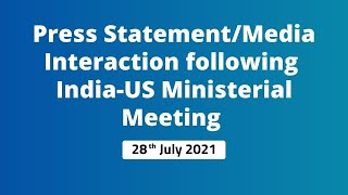Press Statement/Media Interaction following India-US Ministerial Meeting