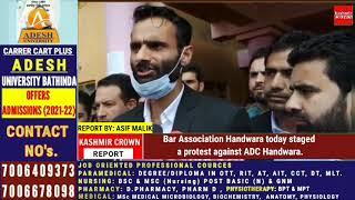 Bar Association Handwara today staged a protest against ADC Handwara.